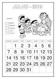 Calendário 2019 - Turma da Mônica Cry Baby, Professor, Education, School, Writing Activities, Abc Centers, Calendar For Kids, Cursive, Lyrics