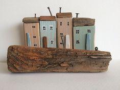 Driftwood Cottages, Driftwood Houses, Coastal Seaside Beach Ornament, White Blue Natural Wood, Nautical, Shabby Chic Unique Gift Driftwood Sculpture, Driftwood Art, Beach Ornaments, Little Cottages, Little Houses, Seaside Beach, Diy Craft Projects, Natural Wood, Floating Shelves