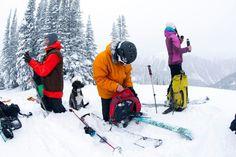 Knee-deep snow. Patagonia ambassadors Josh Dirksen, Bryce Phillips and Jasmin Caton, Valhalla Mountain Touring, BC, Canada. Photo: Adam Clark