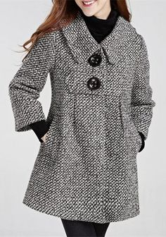 Chic Turn-Down Neck 3/4 Sleeve Pocket Design Buttoned Women's Coat