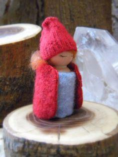 Waldorf Inspired Winter Snowflake Peg Doll