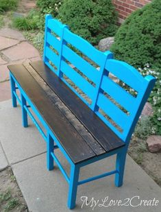 who knew old chairs could look so good, diy, painted furniture, repurposing upcycling, woodworking projects Diy Bench, Chair Bench, Diy Chair, Chair Planter, Repurposed Furniture, Painted Furniture, Furniture Makeover, Diy Furniture, Furniture Design