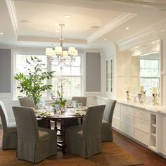 Dining Room Built In Design, multi use space....love the crown