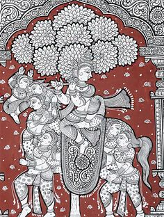 Kandarp Ashv Pattachitra Artwork on Canvas x Pichwai Paintings, Mughal Paintings, Indian Art Paintings, Kerala Mural Painting, Art Painting Gallery, Madhubani Art, Madhubani Painting, Phad Painting, Indian Traditional Paintings