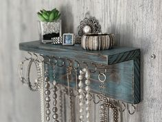Teal/Brown Distressed Jewelry Organizer Necklace Holder, Wall Mounted Rustic Wood, Holds Necklaces Bracelets - new season bijouterie Jewelry Organizer Drawer, Diy Jewelry Holder, Jewellery Storage, Jewelry Organization, Jewellery Display, Diy Necklace Holder, Shelf Organizer, Diy Organisation, Necklace Hanger