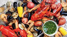 Shellfish Boil with Spicy Green Dipping Sauce Recipe This shellfish boil is a one-pot seafood feast that would take hours on a regular stovetop burner. Seafood Boil Recipes, Seafood Dishes, Fish And Seafood, Shellfish Recipes, Shrimp Recipes, Seafood Boil Party, Crawfish Recipes, Seafood Meals, Seafood Platter
