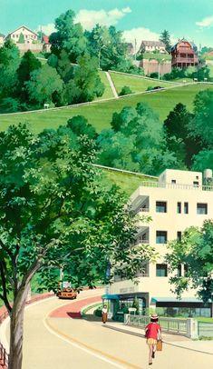 """Backgrounds from Whisper Of The Heart (Mimi wo sumaseba, studio Ghibli) :"" Anime Backgrounds Wallpapers, Anime Scenery Wallpaper, Animes Wallpapers, Cute Wallpapers, Twitter Backgrounds, Art Studio Ghibli, Studio Ghibli Movies, Hayao Miyazaki, Aesthetic Backgrounds"