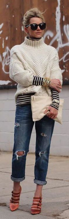 Dear Stitch Fix: Love the chunky oversized sweater and the striped long sleeved layer!!