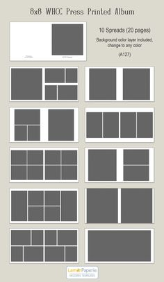 8x8 WHCC Press Printed Album Templates (a127) INSTANT DOWNLOAD