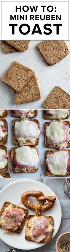 Definitely trying these mini reubens on our Rye with Caraway Seed Triscuit! Topped with Thousand Island dressing, sauerkraut, corned beef, and lacy Swiss cheese, these reubens are simple to make and a total crowd-pleaser. Recipe via @jellytoastboard