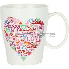 Mug in porcellana con decorazione a Cuore e scritta Love