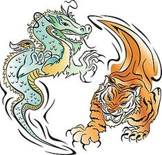 Tiger is on the right, in defensive posture, while dragon is on the left with aggressive posture.