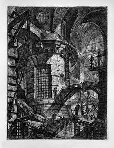 Giovanni Battista Piranesi   03- Grandes arcos que descansan sobre una torre central en la cual existe una gran ventana enrejada, escaleras y pasarelas se distribuyen por el recinto.