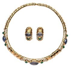 Marina B Emerald Sapphire Diamond Gold Set | From a unique collection of vintage choker necklaces at https://www.1stdibs.com/jewelry/necklaces/choker-necklaces/