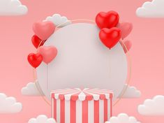 Render Podium For Valentine's Day.abstract Scene For Display Product. Write On Pictures, Bff Drawings, Birthday Wishes Quotes, Beauty In Art, Flyer Design, Set Design, Design Ideas, Creative Posters, 3d Rendering