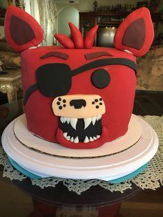 Red velvet/Vanilla Foxy Five Nights @ Freddy's cake . Something Sweet by Letty Garcia . 11th Birthday, Birthday Parties, Birthday Cakes, Birthday Ideas, Fnaf Cakes Birthdays, Fondant Cakes, Cupcake Cakes, Freddy S, Cakes For Boys