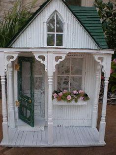 "dollhouse version of ""My Shabby Streamside Studio,"" created by ""Cinderella Moments"" Fairy Houses, Play Houses, Doll Houses, Cubby Houses, Shabby Chic Interiors, Shabby Chic Decor, Cinderella Moments, Doll House Plans, Victorian Dollhouse"