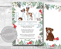 20 Ideas Baby Shower Invites For Boys Templates Girls Baby Shower Food Menu, Baby Shower Parties, Baby Shower Themes, Baby Boy Shower, Etsy Cards, Animal Books, Baby Shower Invitations For Boys, Gender Neutral