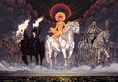 HD wallpaper: four horsemen painting, Four Horsemen of the Apocalypse, famine Apocalypse Art, Horsemen Of The Apocalypse, Apocalypse Tattoo, Dark Fantasy, Fantasy Art, Fantasy Paintings, Angels And Demons, Mythical Creatures, Weird Creatures