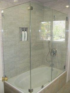 glass shower tub door with corner Bathtub Shower Combo, Tub To Shower Remodel, Bath Shower, Corner Tub Shower Combo, Bathtub Doors, Glass Shower Doors, Glass Doors, Bathtub With Glass Door, Glass Walls