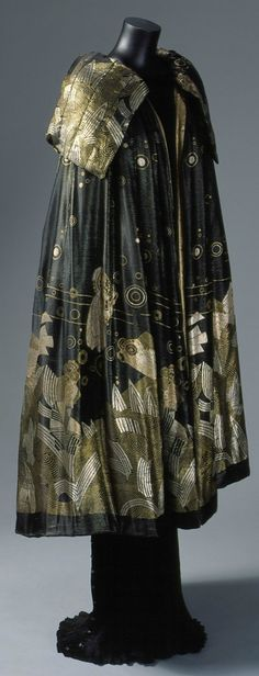 """Art Deco '' Evening Cape"""" House of Worth    Gold fish design by Jean Dunand Paris,1925      © LACMA"""