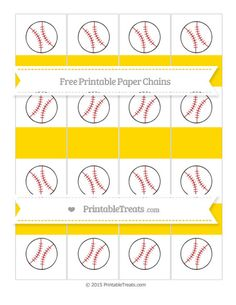 Free Gold  Baseball Paper Chains