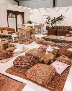 Earthy moroccan poufs and rugs Bamboo House Design, Picnic Birthday, Wedding Lounge, Backyard Camping, Wedding Crafts, Decor Wedding, Wedding Ceremony, Its My Bday, Decoration