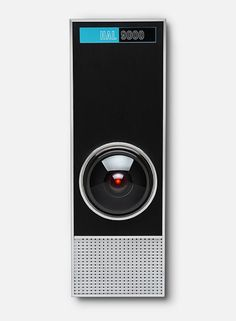 HAL 9000  TheHAL 9000 life-size replicabyThinkGeekis an impressively accurate, voice-activated recreation ofHAL 9000, the AI computer villain from the 1968 sci-fi film2001: A Space Odyssey. It isavailable to purchaseonline. I NEED IT!