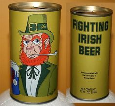 Vintage 1980 FIGHTING IRISH BEER 12oz CAN-empty/basketball/notre dame/leprechaun