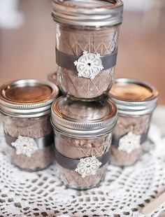 Hot cocoa mix in jars. I really like the embelishments of the jars!