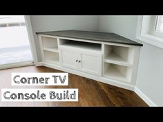 Building a Corner TV Stand Built-in Corner Tv Console, Corner Tv Cabinets, Corner Tv Stands, Corner Tv Unit, Room Corner, Corner Tv Shelves, Corner Tv Stand Ideas, Corner Media Cabinet, Modern Corner Tv Stand