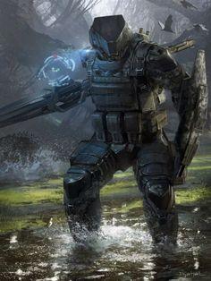 Geoffroy Thoorens djahalland deviantart ilustrações arte conceitual guerras futuristas batalhas tecnologia Galaxy Saga - Caçador com lança