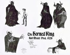 """Walt Disney Sketches of The Horned King and Taran from """"The Black Cauldron"""" (1985)"""
