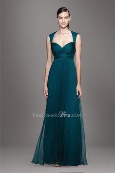 teal blue queen anne neckline crisscross pleated empire waist a line floor length layered chiffon bridesmaid dress this is an Amsale design