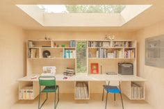 This cork shed, is lined in birch plywood and features matching furniture – which cantilevers off the walls to make the most of the limited floor area of just 13 square metres.