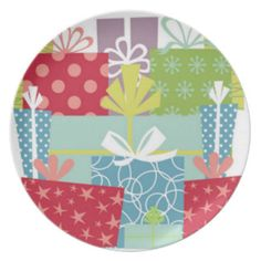 Gifts Galore Holiday / Birthday Plate Party Plates - perfect for holiday desserts or birthday cake!  Display on  plateholder; Fun and original birthday or holiday gift idea.  Find more of this design on www.zazzle.com/drapestudio and other products in our shops www.cafepress.com/drapestudio and www.etsy.com/shop/drapestudio