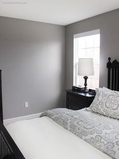 Gray master bedroom. Walls: Function Gray, Sherwin Williams. Duvet: Ainsley Paisley Duvet Cover from Pottery Barn at http://www.potterybarn.com/products/ainsley-paisley-duvet-cover-sham/?cm_src=E%3Aduvet-covers-shams&lineid=1&catalogId=92.......mood board at: http://howtonestforless.com/2014/12/16/master-bedroom-mood-board/