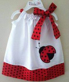 Ladybug dress:) I may have already pinned this, but oh well. Little Dresses, Little Girl Dresses, Girls Dresses, Summer Dresses, Sewing For Kids, Baby Sewing, Sewing Ideas, Sewing Clothes, Doll Clothes