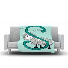 "Rosie Brown ""Sis for Sheep Blue"" Teal Fleece Throw Blanket from KESS InHouse   #fleece #blanket #throw #art #homedecor #kessinhouse"