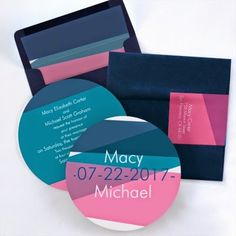 Occasions to Blog: Pink and Blue Wedding Ideas (Invitation Link - http://occasionsinprint.carlsoncraft.com/Wedding/Wedding-Invitations/3088-AAM19781AD-Color-Block--Invitation--Admiral.pro?pvc=)