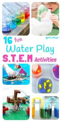 16 exciting Water Play STEM projects kids will love! STEM Water play ideas are great educational Summer activities...Kids learn best when they're having fun! #STEM #STEAM #STEMchallenge #water #watertable #waterplay #play #playideas #outdoorplay #kidscraftsroom #kidsactivities #earlyyears #preschool #prek #preschoolactivities #outsideplay #STEMactivities  #stemeducation  #stemforkids  via @KidsCraftRoom