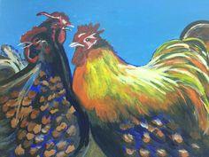 Boer wat zeg je van mijn kippen.. #acryl #painting
