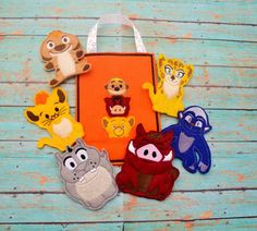 Lion Friends Finger Puppet with Personalized Bag Lion by EODdesign