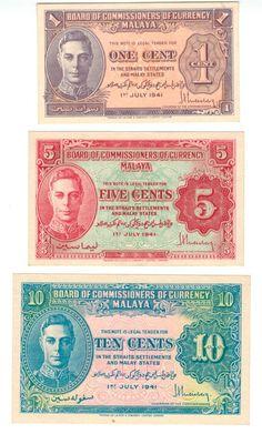 MALAYA   1941 1, 5 & 10 Cents   King George VI   UNC   RARE