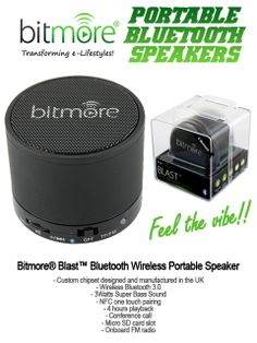 The Bitmore® Blast™ Bluetooth Wireless Portable Super Bass Speaker is the perfect companion for anyone who is looking for super pumping, rich sounds from a speaker you can use anywhere!  The irresistible combination of upbeat sound and sexy, leftfield styling. The finish just demands an admiring caress, and if that isn't enough to win you over, just wait till you hear 3 watts of exciting music through our HDSS system (High Definition Sound System).
