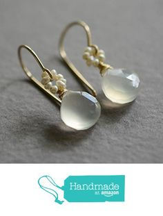 White chalcedony freshwater cultured seed pearl earrings 14kt gold-filled from Kahili Creations https://www.amazon.com/dp/B015XE5AG6/ref=hnd_sw_r_pi_dp_fQwxxbJRPVK18 #handmadeatamazon