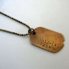 Personalized Necklace, Dog Tag Military Style, Custom Dogtag Jewelry, JOHN by E. Ria Designs. $28.00, via Etsy.