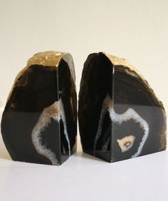 Gold Leaf Agate Bookends $58