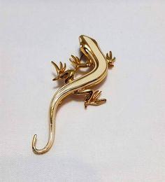 Enamel Gold Lizzard Brooch