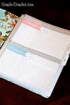 Editable recipe cards put in binder (covered in fabric) with clear plastic sleeves that hold 2 cards per page
